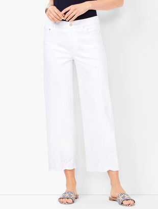 Denim Wide-Leg Crops - Embroidered White