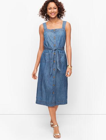 Striated Denim Fit & Flare Dress