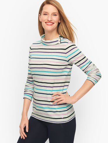 Colorful Stripe Mockneck Tee