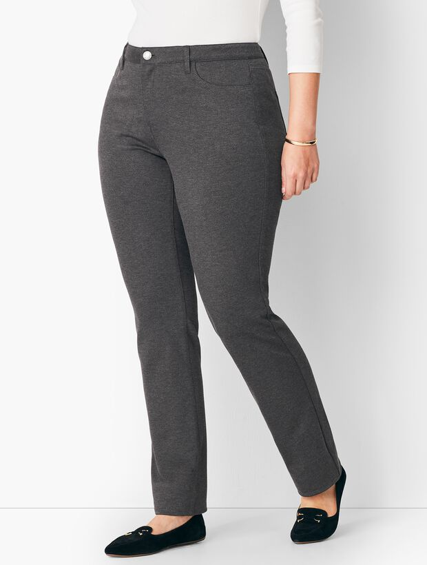 Plus Size High-Rise Straight-Leg Pants - Ponte