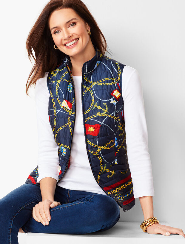 Nautical-Print Quilted Vest