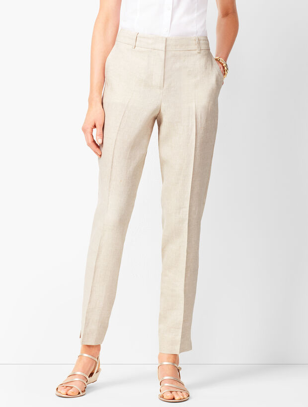 Linen Slim Ankle Pants - Solid