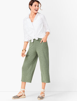 Heathered Terry Wide-Leg Crops