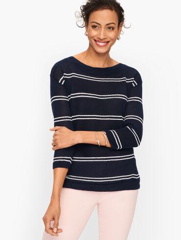 Linen Bateau Neck Sweater - Stripe