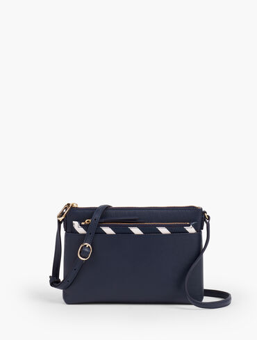 Crossbody Leather Bag With Insert - Stripe