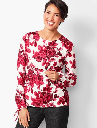 Front-Pleat Keyhole Popover - Floral