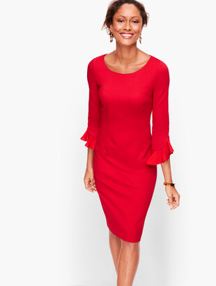 Flounce Sleeve Ponte Sheath Dress