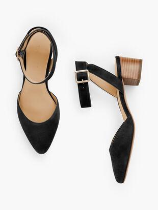Laney Ankle Strap Heels - Suede