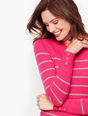 Cashmere Button Cuff Sweater - Stripe