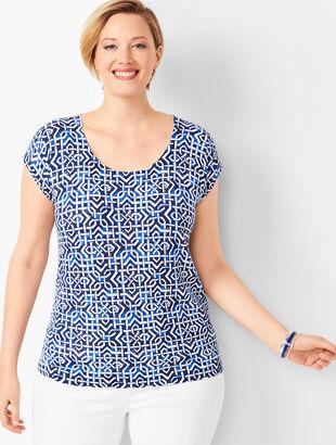 Cap-Sleeve Sweater - Geometric