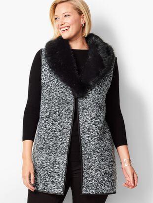 Plus Size Fur-Trim Bouclé Vest