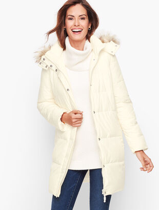 Down Alternative Puffer Coat With Faux Fur Hood