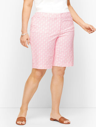"Perfect Shorts - 10.5"" Bermuda - Scallop Tile Print"