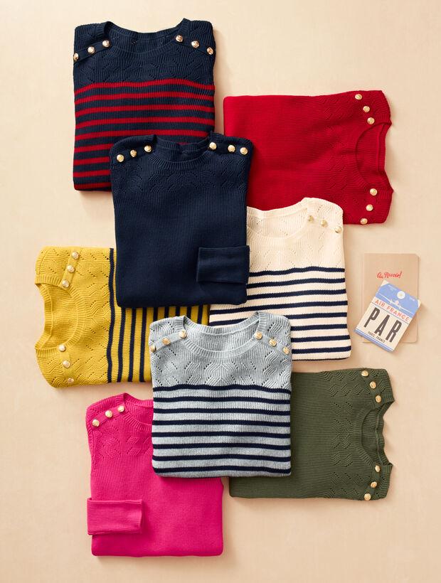 Marie Stripes Shoulder-Button Sweater