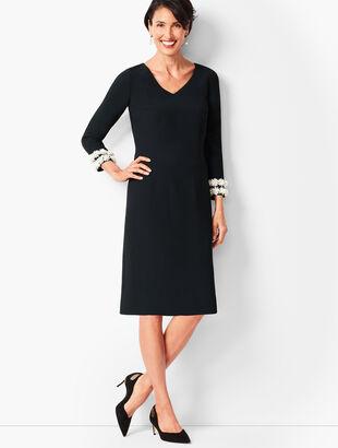Embellished-Sleeve Crepe Shift Dress