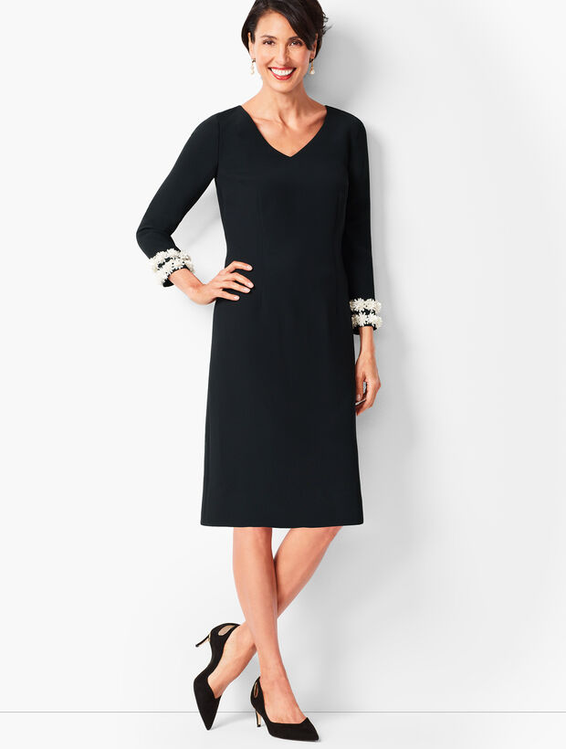 Embellished-Sleeve Crepe Shift Dress