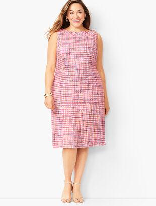 Ribbon Tweed Shift Dress