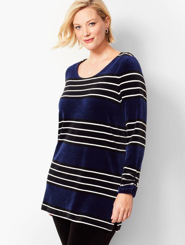 Plus Size Exclusive Luxe Velour Stripe Tunic