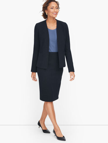 Knit Tweed Open Front Jacket
