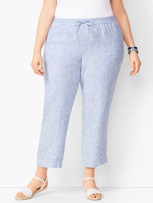 Washed Linen Pull-On Crops- Stripe