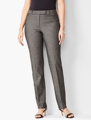 Bi-Stretch High-Waist Straight-Leg Pants - Curvy Fit - Sharkskin