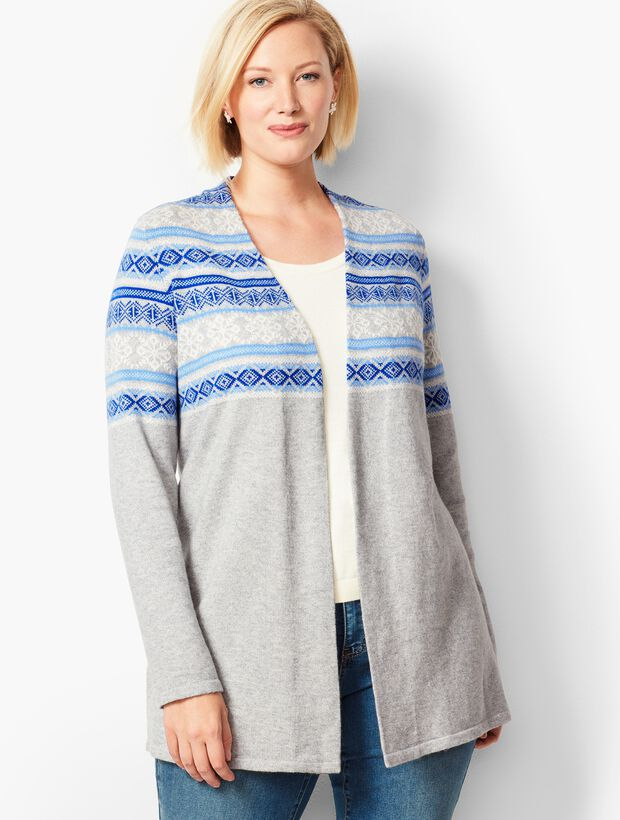 Fair Isle Open-Front Cardigan