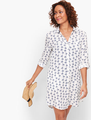 Crinkle Cotton Beach Shirt - Palm Print
