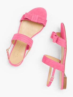 Keri Stitched-Bow Sandals - Suede