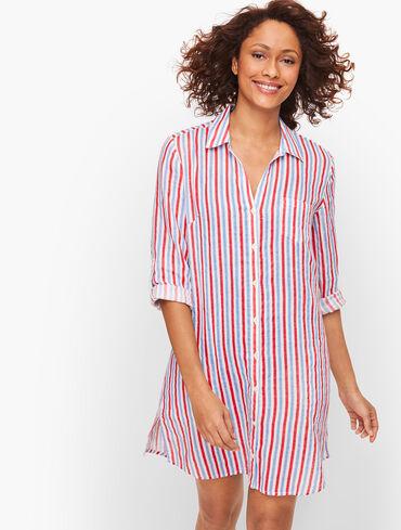 Crinkle Cotton Beach Shirt - Stripe