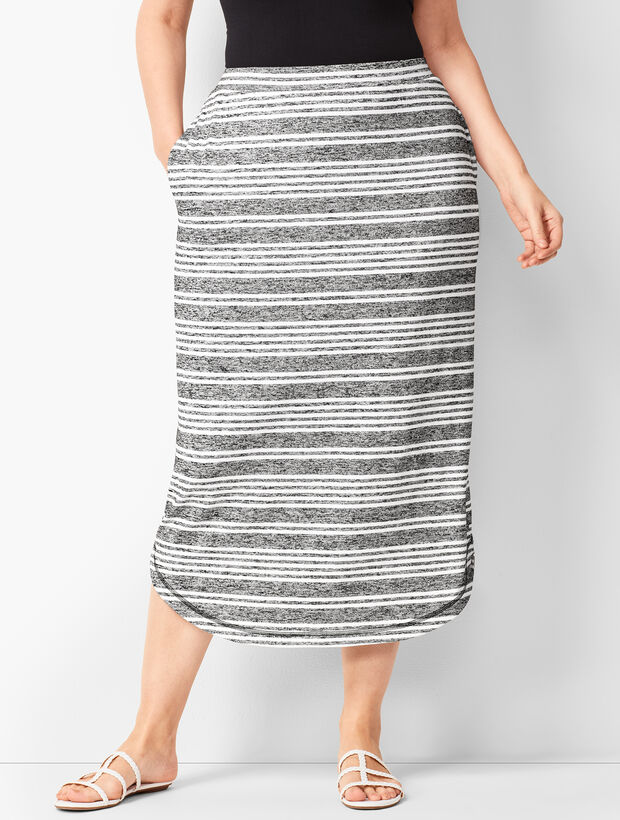 Curved-Hem Stripe Knit Skirt
