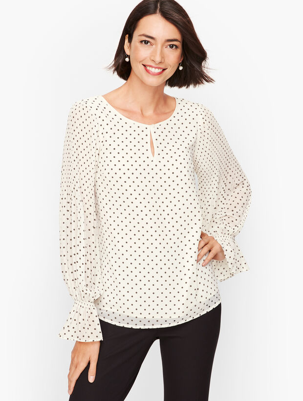 Gathered Sleeve Top - Dot