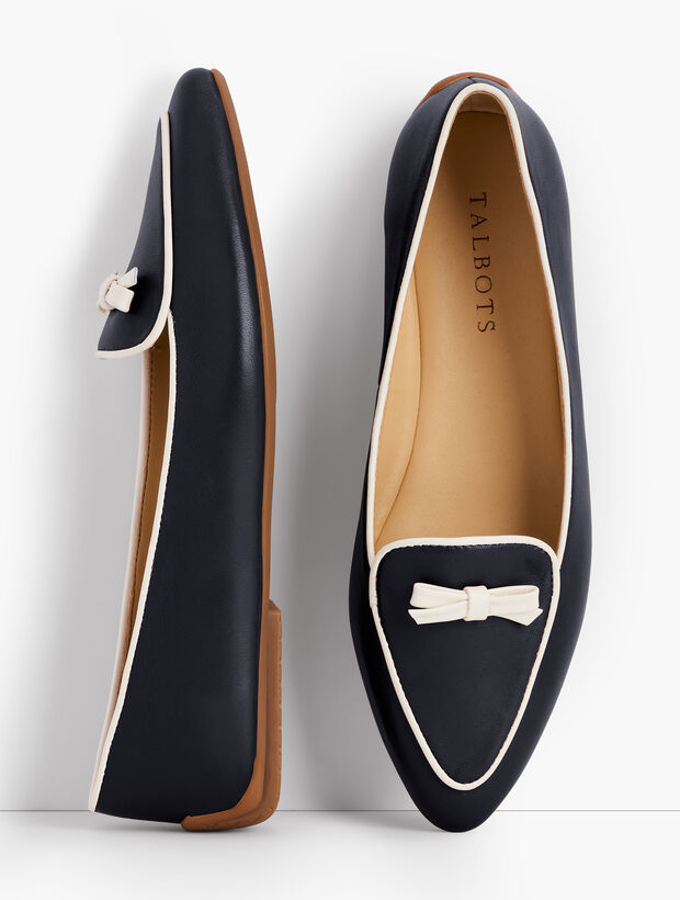 Francesca Piped Bow-Detail Flats