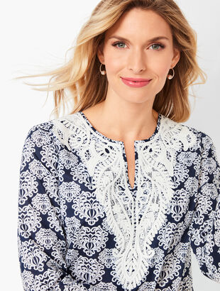 Lace-Bib Tunic Top - Medallion