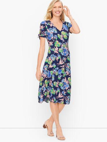 Tie Sleeve Floral Midi Dress