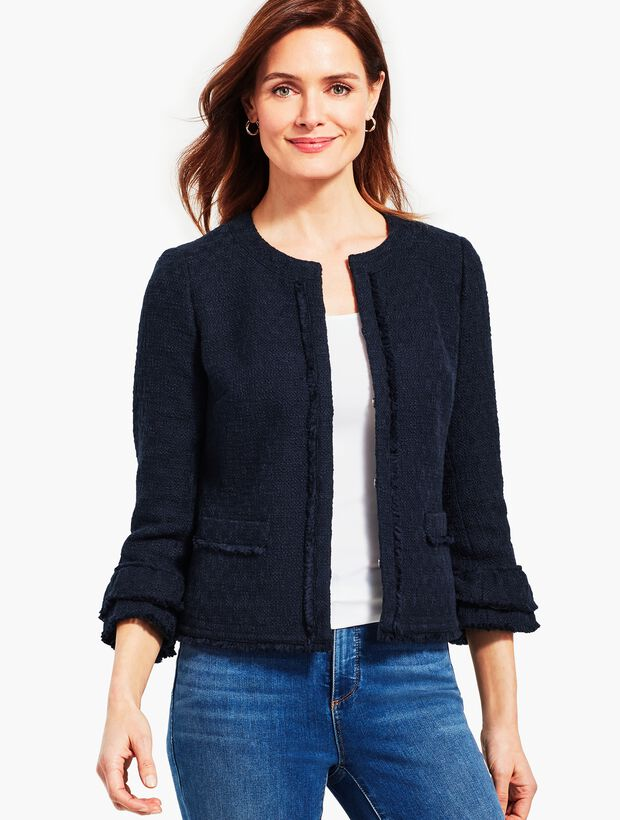 Tweed Ruffle-Sleeve Jacket