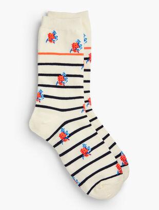 Floral Stripe Trouser Socks