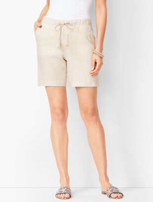 Drawstring Washed-Linen Shorts - Cross-Dyed