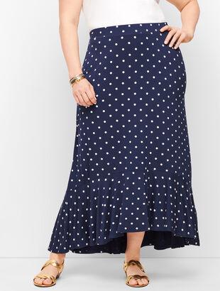 Dot Flounce Hem Maxi Skirt