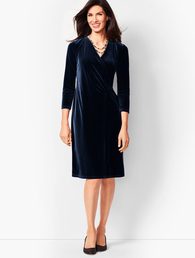 Velvet Faux-Wrap Sheath Dress
