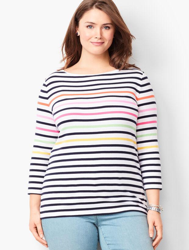 Cotton Bateau-Neck Tee - Multi-Color Stripe
