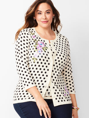 Charming Cardigan - Three-Quarter Sleeve - Embellished