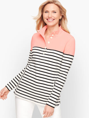 Colorblock Half Button Pullover