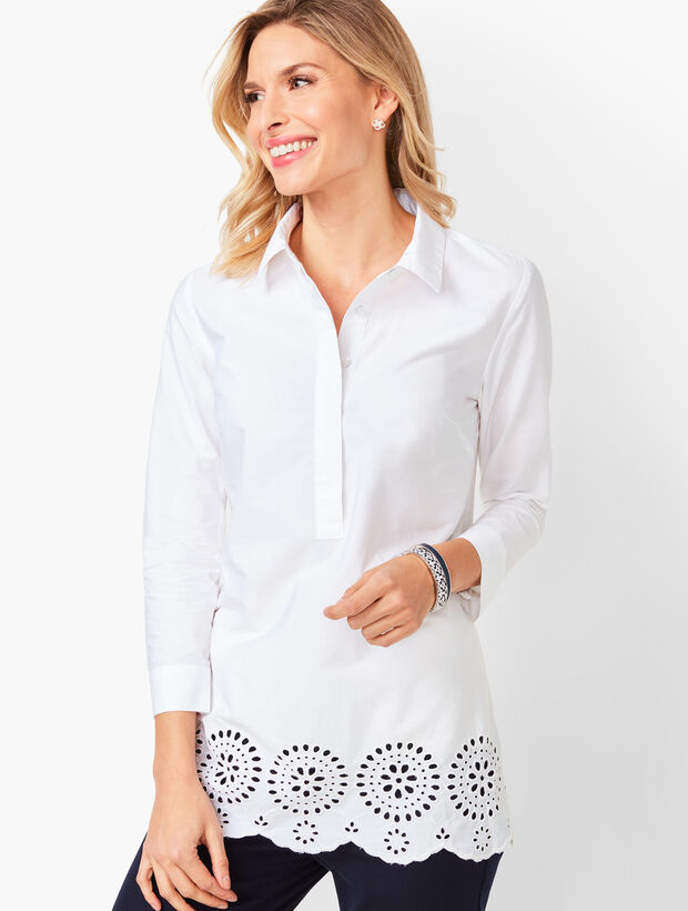 Embroidered Eyelet-Hem Tunic