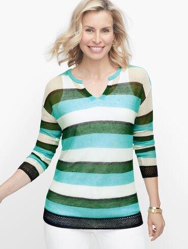 Split Neck Mesh Stripe Sweater