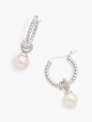 Sterling Silver & Freshwater Pearl Hoop Earrings