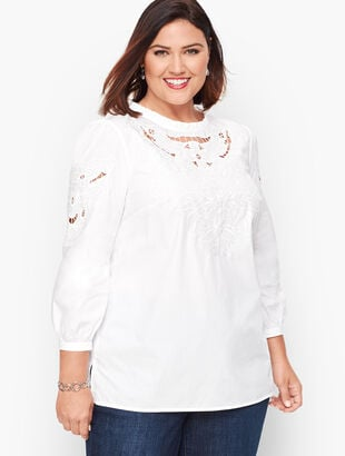 Embroidered Cutout Poplin Top