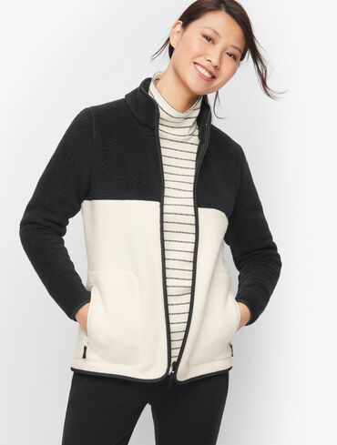 High-Low Cozy Sherpa Jacket - Colorblock