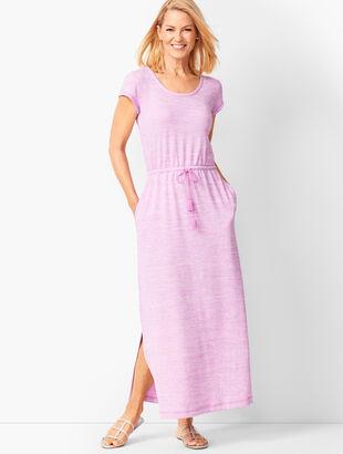 Tassel-Tie Soft Jersey Maxi Dress