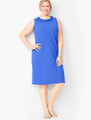 Pleat-Neck Shift Dress