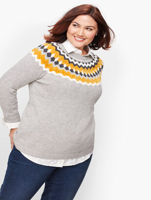 Chenille Fair Isle Trim Sweater